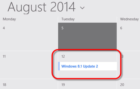 Calendário de Agosto do Windows 8.1