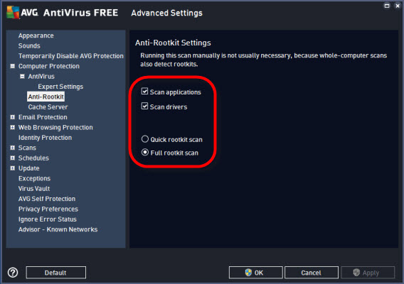 AVG settings - anti-rootkit