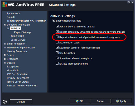 AVG settings - antivirus
