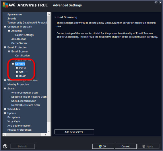 AVG settings - email protection - email scanner - servers