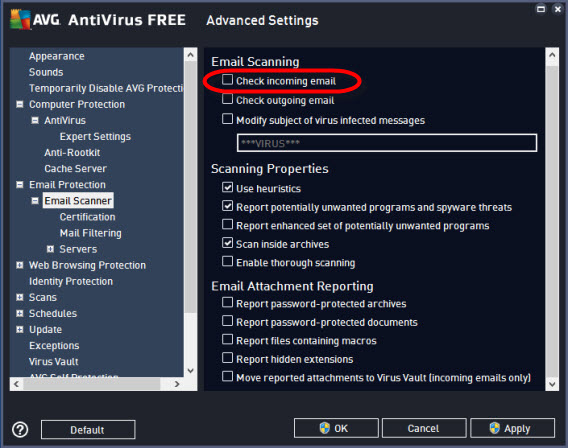 AVG settings - email protection - email scanner webmail