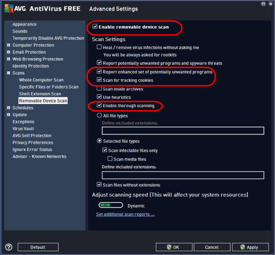 AVG settings - scans - removal device scanl