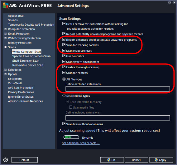 AVG settings - scans - whole computer scanl