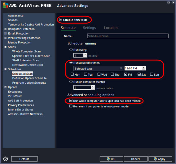 AVG settings - schedules - scheduled scan