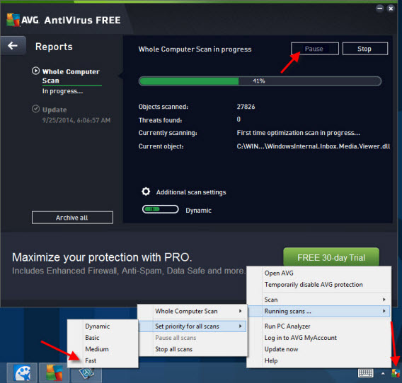 AVG settings - tray icon settings
