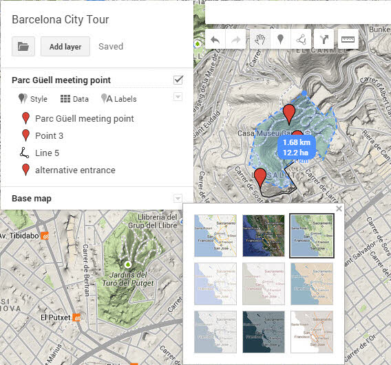 Google My Maps: changer le style de la carte de base