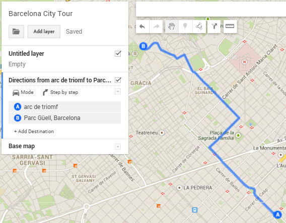 Google My Maps add directions example