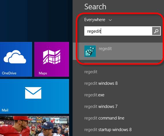 Digite Regedit na tela inicial do Windows