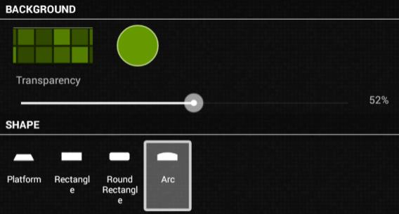 nova launcher settings dock shape + transparency