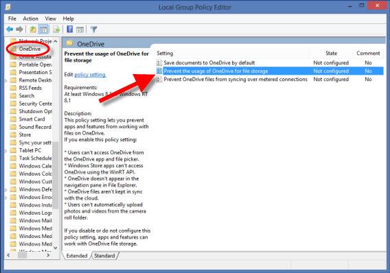 Recurso para impedir que o OneDrive rode como padrão