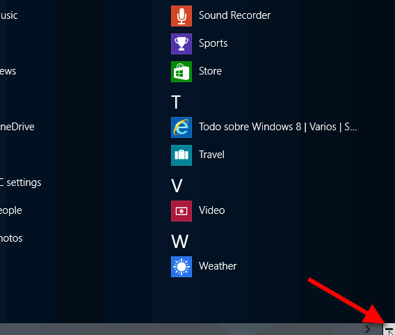 La liste élargie des applis dans Windows 8.1