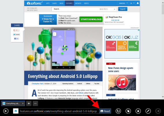 Softonic Windows Tip of the Week - Use reading view in Internet Explorer
