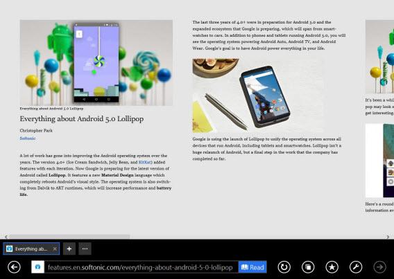 Windows 8.1 Internet Explorer reading view