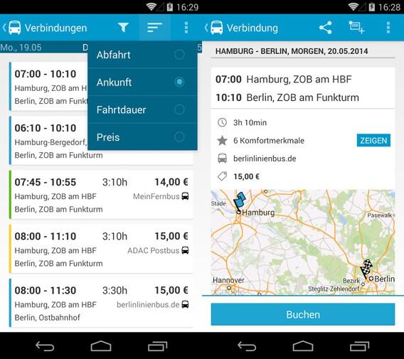 Fernbus als Bahn-Alternative: Fahrpläne und Verbindung finden per App und mit Google Maps