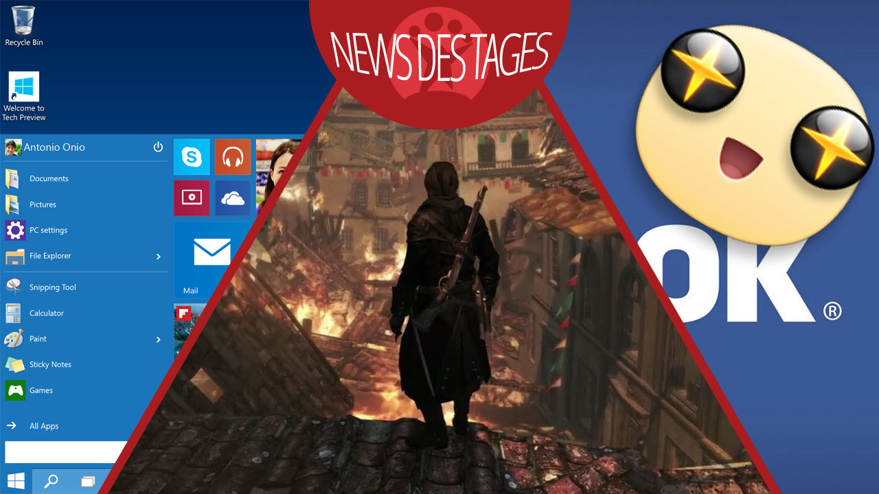 News des Tages: Windows 10 mit Teilen-Button, Facebook-Sticker, Assassin's Creed: Rogue