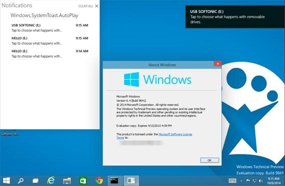 Windows 10: Das neue Benachrichtigungscenter lässt sich in Windows 10 Technical Preview aktivieren