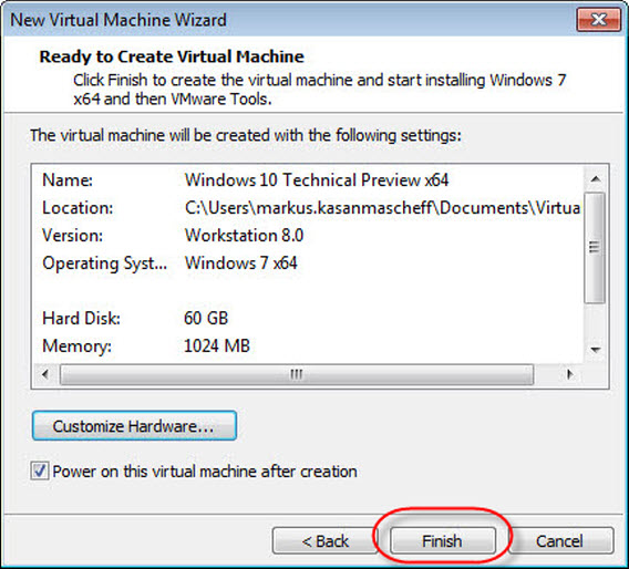 Windows 10 Technical Preview virtual machine vmware