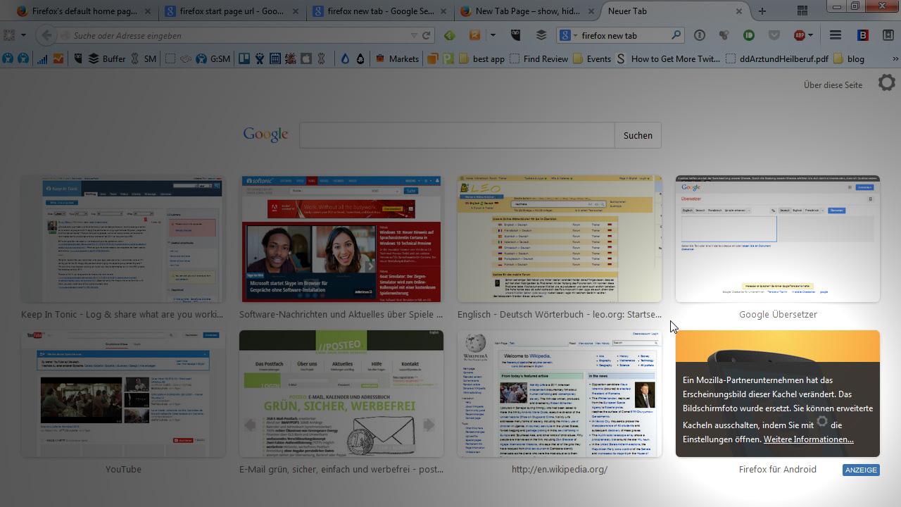 Werbung in der Firefox-Startseite deaktivieren