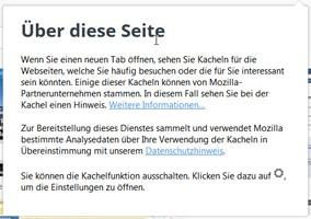 Datenschutzhinweis der Firefox Startseite.