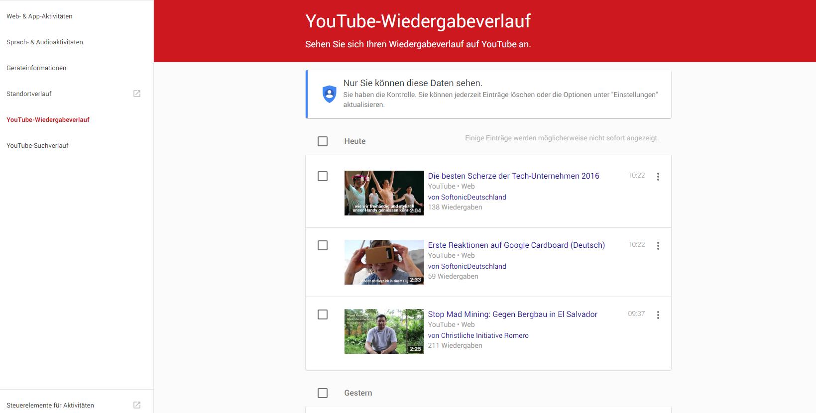 Youtube Wiedergabeverlauf
