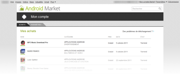 Mon Compte Market: toutes les applications installées
