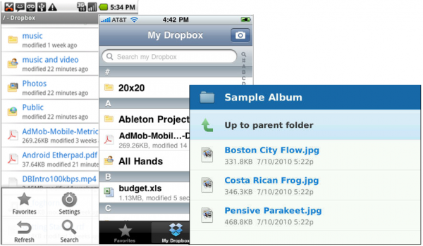 Les versions mobiles de Dropbox