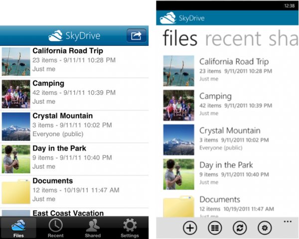 SkyDrive sur Windows Phone et iPhone