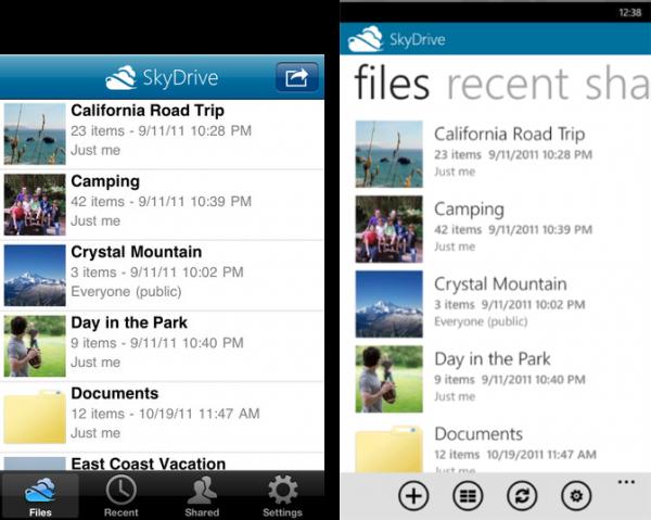SkyDrive sur Windows Phone et iPhone