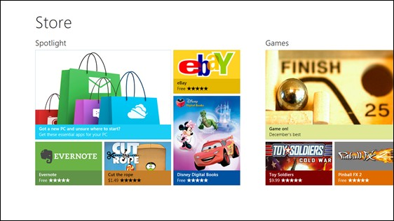 Interface de Windows Store Softonic