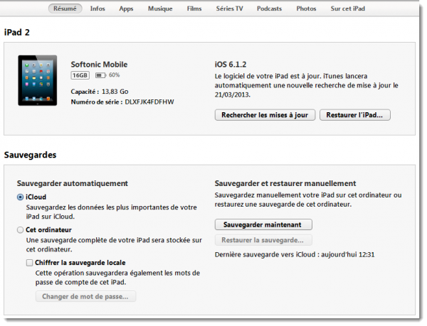 brancher iPad à iTunes