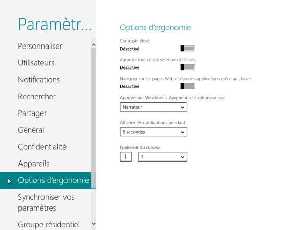 Panneau de Configuration Windows 8 Options d'ergonomie