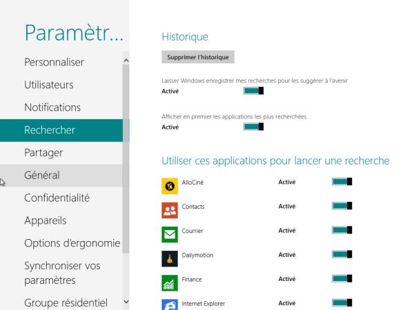 Panneau de Configuration Windows 8 Rechercher