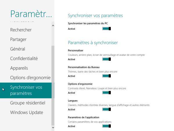 Panneau de Configuration Windows 8 Synchroniser paramètres