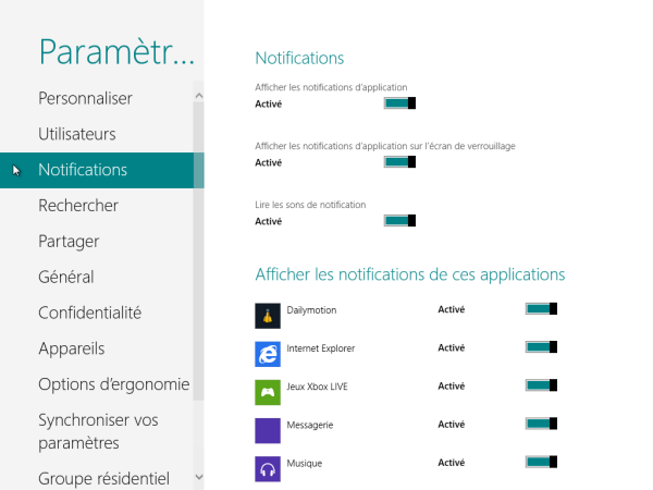 Panneau de Configuration Windows 8 Notifications
