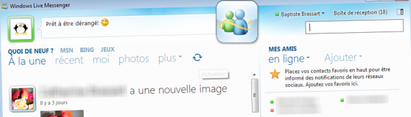 Interface principale de MSN