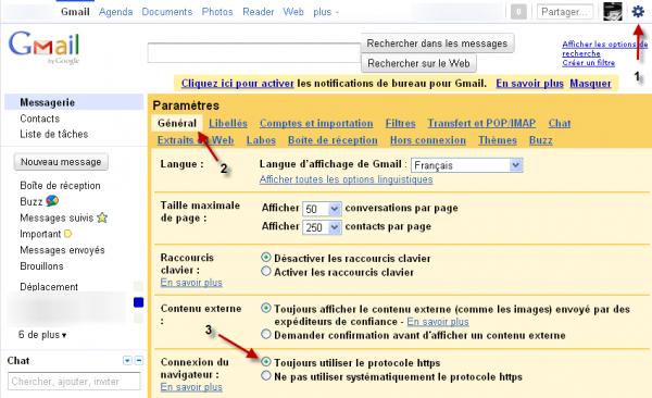 Activer le protocole HTTPS GMail