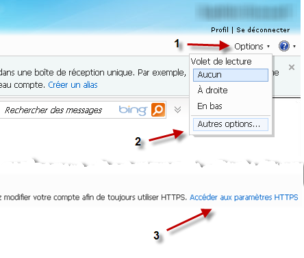 Activer depuis les options Hotmail HTTPS
