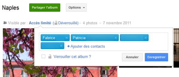 Options de partage Google+