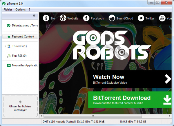 Ecran principal uTorrent