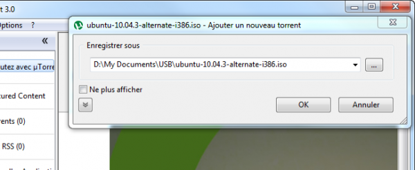 Emplacement de destination du fichier Softonic uTorrent