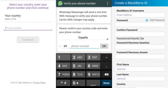 Telas de registro do Viber, BBM e WhatsApp