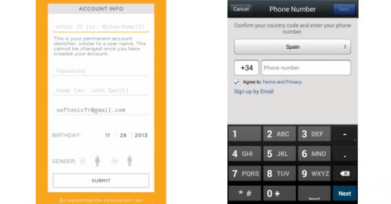 Telas de registro do ooVoo e WeChat