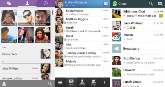 Telas de interface do Viber, BBM e WhatsApp
