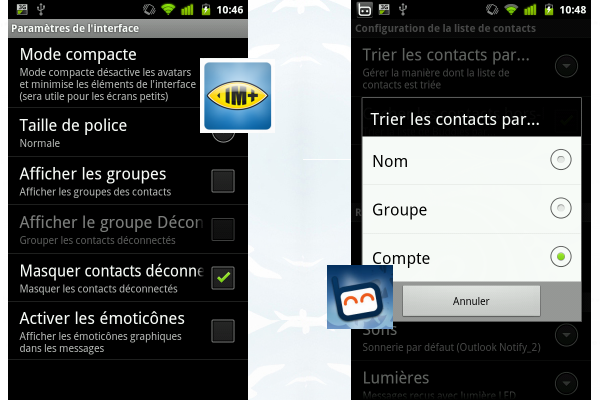 Tri des contacts Softonic