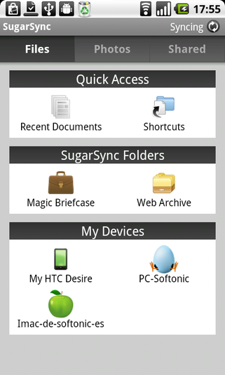 SugarSync sur Android