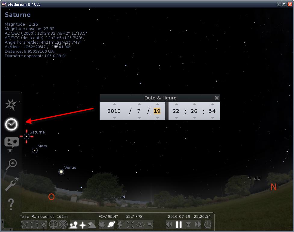 Stellarium-Date&heure