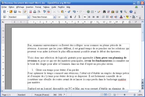 Writer, de la suite Apache OpenOffice