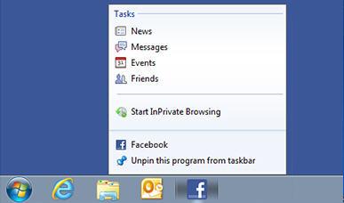 """Facebook et les fonctionnalités de """"Pin"""" d'Internet Explorer 9"""