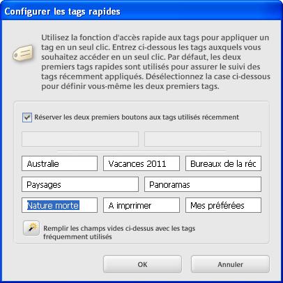 Personnaliser les raccourcis mots-clés dans Picasa