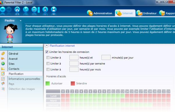 Console d'administration de Profil Parental Filter
